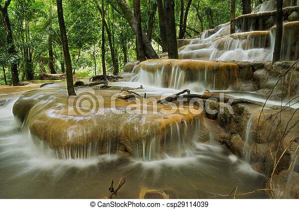 rainforest, 石灰岩, thailand., 滝 - csp29114039