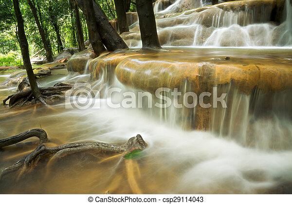 rainforest, 石灰岩, thailand., 滝 - csp29114043