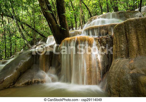 rainforest, 石灰岩, thailand., 滝 - csp29114049