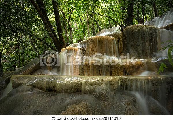 rainforest, 石灰岩, thailand., 滝 - csp29114016