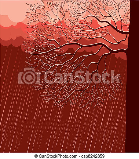 Raining nature landscape with tree in evening - csp8242859