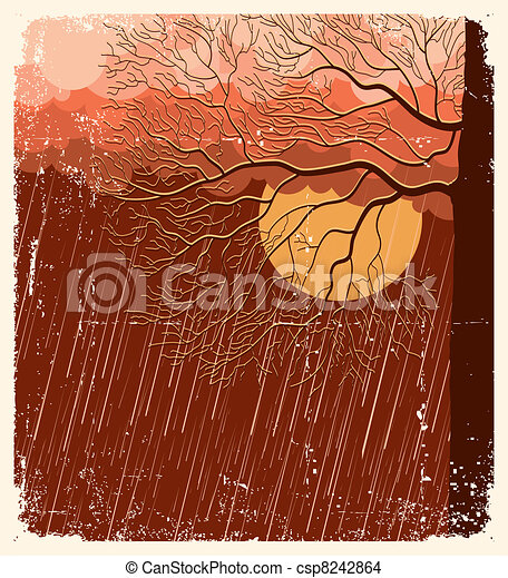 Raining nature landscape with tree in evening.Vector illustration background on old paper - csp8242864