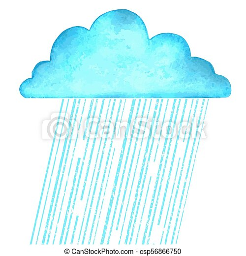 Raining.Vector image with blue rain cloud in wet day on white - csp56866750