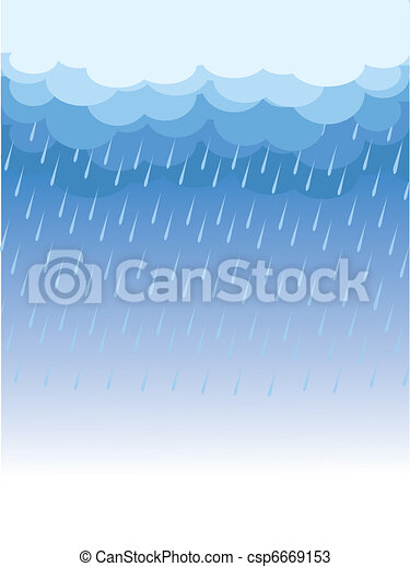 Raining.Vector image with dark clouds in wet day - csp6669153
