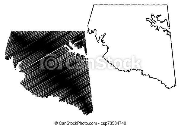 Rains County, Texas (Counties in Texas, United States of America, USA, U.S., US) map vector illustration, scribble sketch Rains map - csp73584740