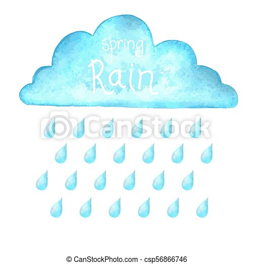 Rain.Vector image with blue rain cloud in wet day - csp56866746