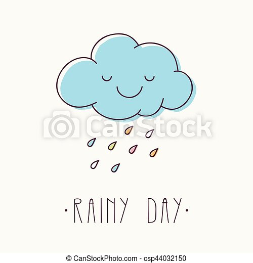 Rainy day. Cute smiling cloud with colorful rain drops.