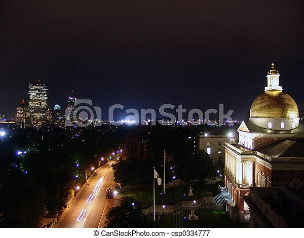 Rainy Night Boston State House - csp0334777