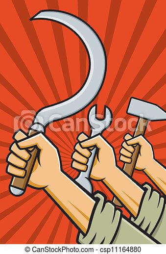 Raised Fists Holding Tools - csp11164880