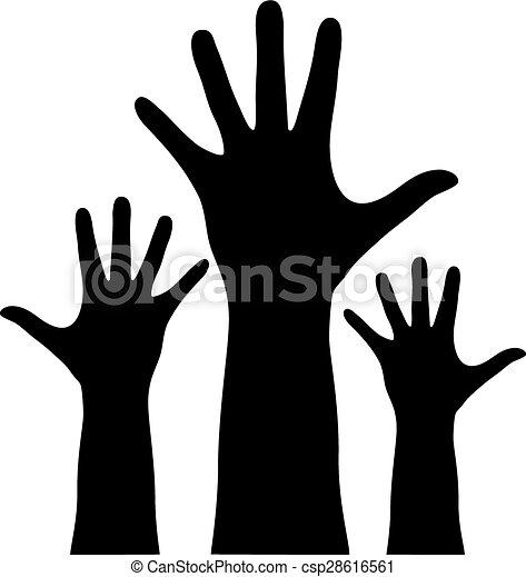 raised hands raised vector hands rh canstockphoto com Helping Hands Vector raised hand vector icon