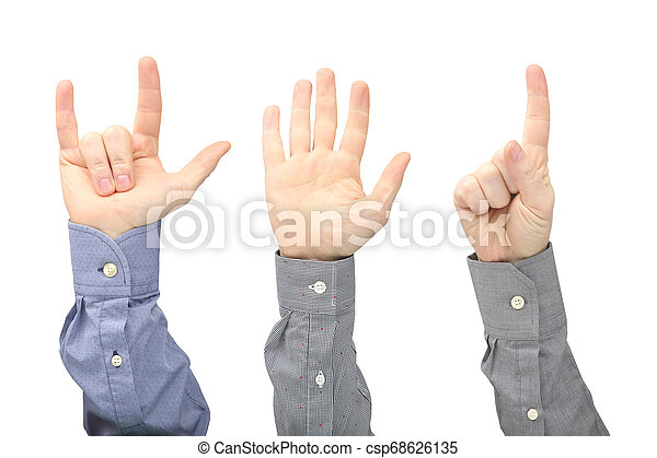 Raised hands of different men on white background - csp68626135