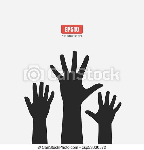 raised hands vector poster design rh canstockphoto com Helping Hands Vector raised hand vector icon