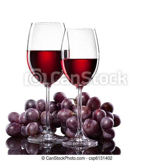 raisin, isolé, vin blanc, rouges, lunettes - csp6131402