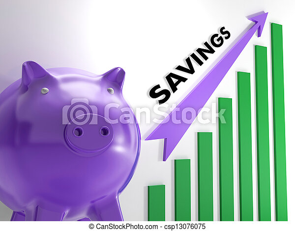 Raising Savings Chart Shows Monetary Growth And Increased Budget