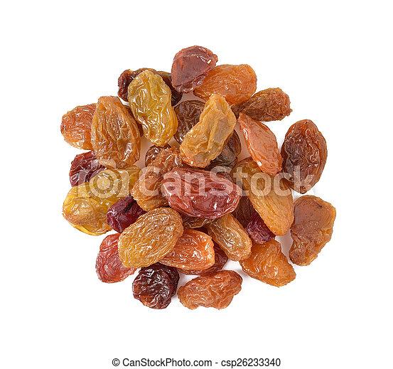 raisins isolated on white background - csp26233340