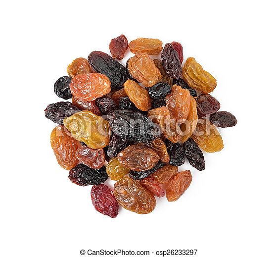 raisins isolated on white background - csp26233297