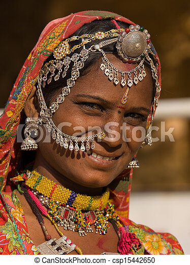 rajasthani, femme, inde, portrait - csp15442650