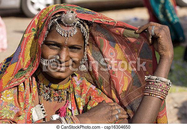 rajasthani, femme, inde, portrait - csp16304650