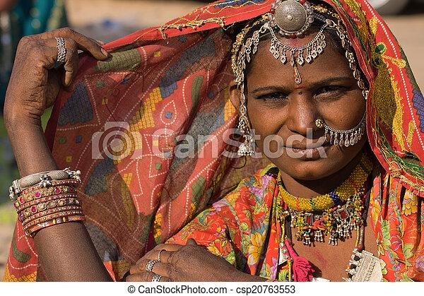 rajasthani, femme, inde, portrait - csp20763553