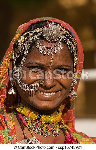 rajasthani, femme, inde, portrait - csp15745921