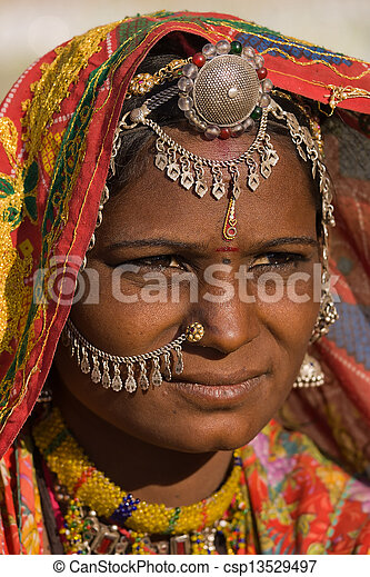 rajasthani, femme, inde, portrait - csp13529497