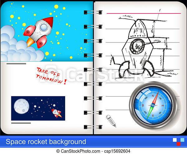 rakieta, przestrzeń, tło. - csp15692604