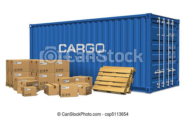 rakomány, dobozok, kartonpapír, konténer - csp5113654