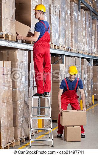 raktárépület, ember, dolgozó, magaslat - csp21497741