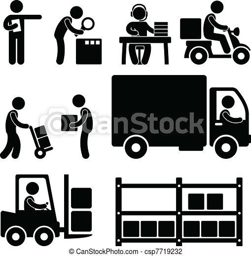 raktárépület, felszabadítás, munkaszervezési, ikon - csp7719232