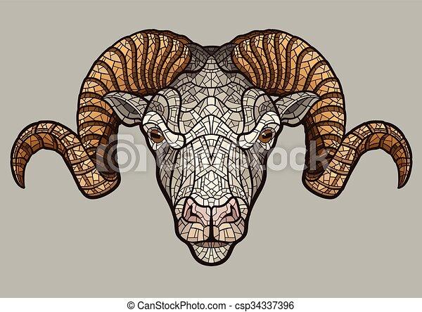 Ram head mascot - csp34337396