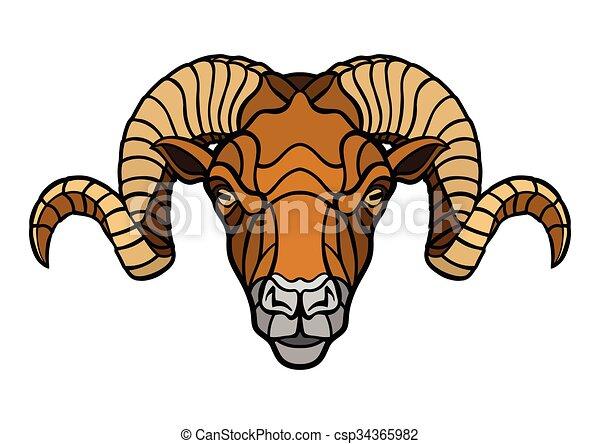 Ram head mascot - csp34365982