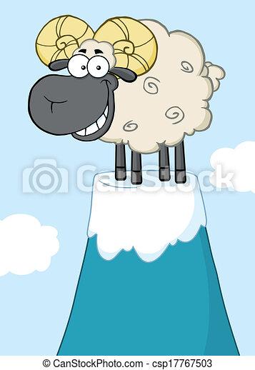 Ram Sheep On Top Of A Mountain Peak - csp17767503