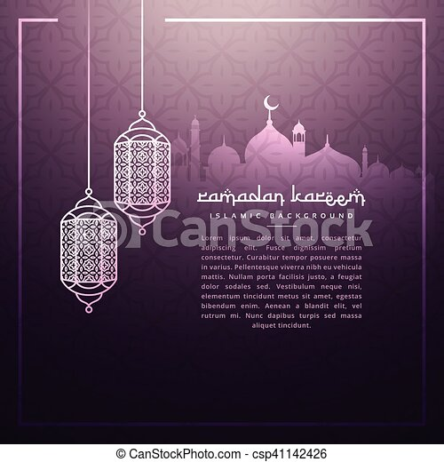 ramadan background with hanging lamps - csp41142426
