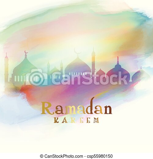 Ramadan background with mosque silhouettes on watercolour texture - csp55980150