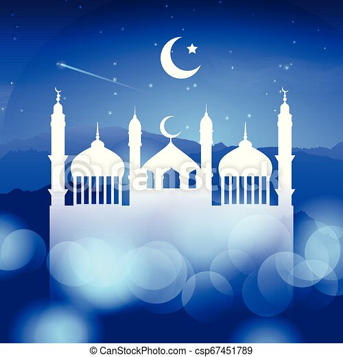 ramadan background with mosque silhouette 0803 - csp67451789
