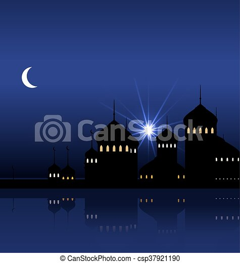 Ramadan Background with Silhouette Mosque - csp37921190