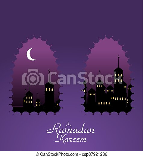 Ramadan Background with Silhouette Mosque - csp37921236
