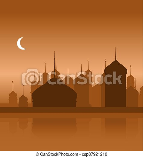 Ramadan Background with Silhouette Mosque - csp37921210