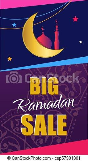 Ramadan Big Sale. Design vertical web banner with beautiful cres - csp57301301