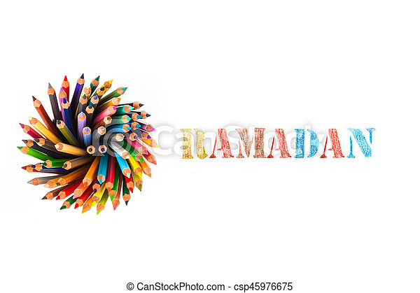 ramadan drawing by colour pencils on white background - csp45976675