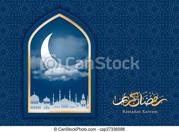 Ramadan greeting card with crescent in mosque window and arabic ramadan greeting card with crescent in mosque window and arabic ornament ramadan kareem calligraphy vector illustration translation ramadan kareem m4hsunfo