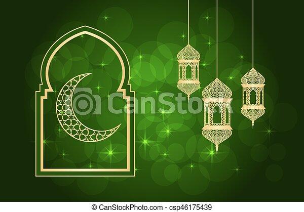 Ramadan greeting card on green background illustration m4hsunfo