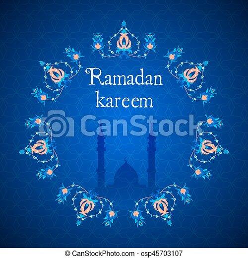 Ramadan greetings card view of mosque in night background vector ramadan greetings card view of mosque in night background csp45703107 m4hsunfo