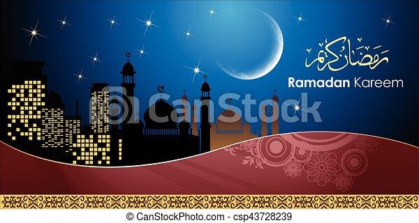 Ramadan greetings in arabic script an islamic greeting card ramadan greetings in arabic script csp43728239 m4hsunfo