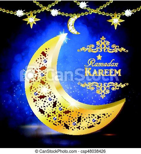 Ramadan greetings vector ramadan greetings with golden moon on ramadan greetings vector m4hsunfo
