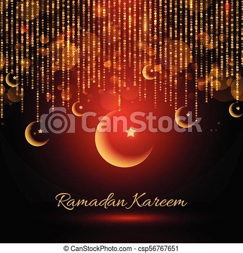 Ramadan Kareem backgroud with hanging crescents - csp56767651
