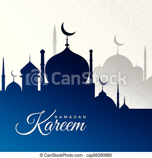ramadan kareem background with blue mosque silhouette - csp56390880
