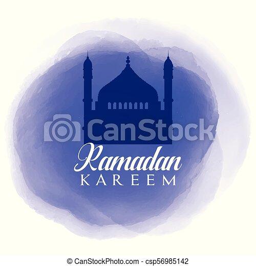 Ramadan Kareem background with watercolour texture - csp56985142