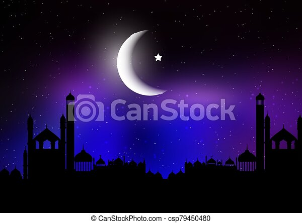 Ramadan Kareem background with silhouettes of mosques against a night sky with moon - csp79450480