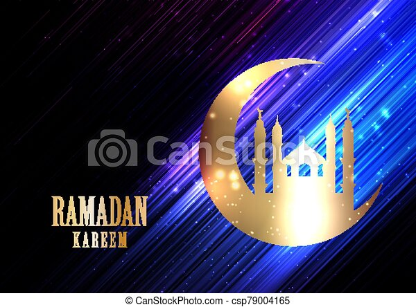 Ramadan Kareem background with glowing lights, crescent and mosque silhouette 1203 - csp79004165